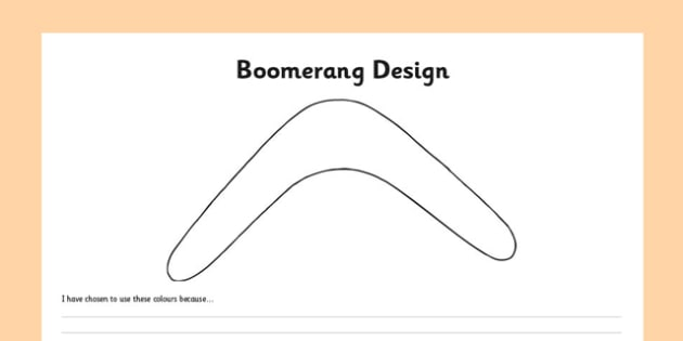 Boomerang design worksheet activity sheet australia for Australian boomerang template
