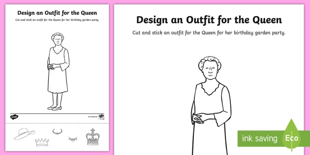 cut and stick outfit for the queen 39 s birthday worksheet worksheet the. Black Bedroom Furniture Sets. Home Design Ideas