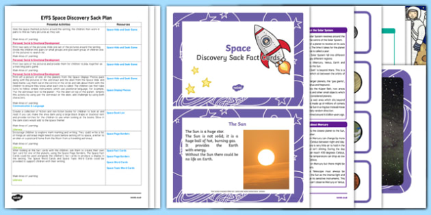EYFS Space Discovery Sack Plan and Resource Pack - eyfs, space, resouce pack, games