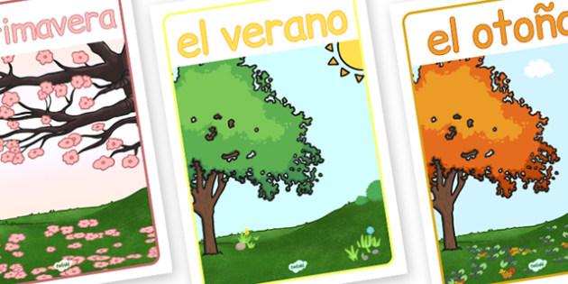 Spanish Season Posters - poster, seasons, displays, display