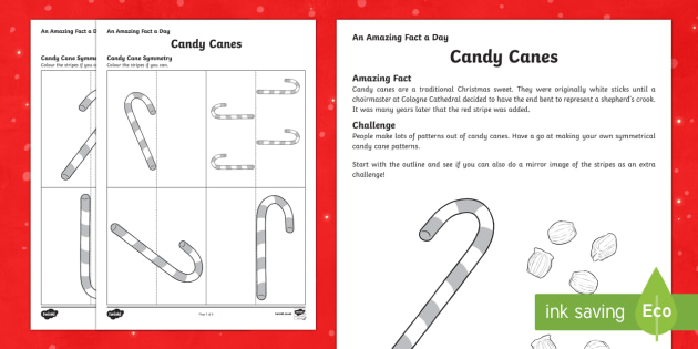Amazing Fact a Day KS2 Countdown to Christmas Day 11 Candy Cane Symmetry Activity Sheet - Amazing Fact Of The Day, activity sheets, powerpoint, starter, morning activity, December, Christmas
