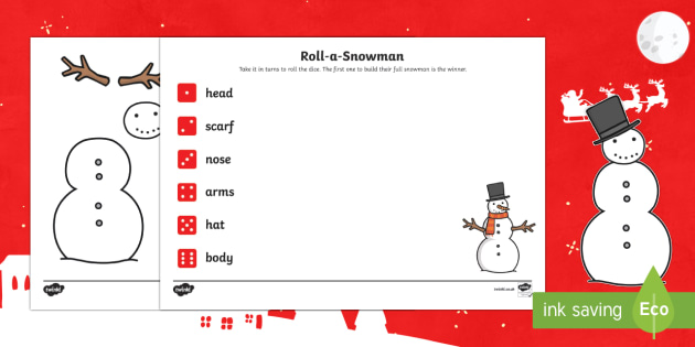 EYFS Roll a Snowman Dice Activity