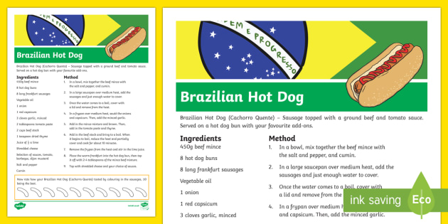 Brazilian Hot Dog Recipe-Australia - RIO Olympics, paralympics, brazilian hot dogs, brazilian food, cooking, recipe card, fun, activity,