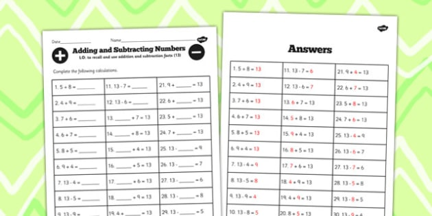 Number Facts to 13 Worksheet - number, facts, 13, worksheet, math