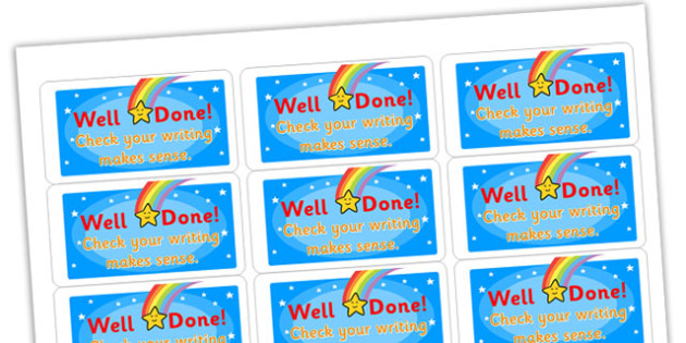 Check Your Writing Makes Sense Stickers - stickers, printable stickers, marking stickers, work marking stickers, check your writing makes sense sticker