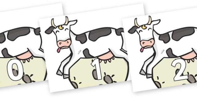 Numbers 0-50 on Cow and Moon - 0-50, foundation stage numeracy, Number recognition, Number flashcards, counting, number frieze, Display numbers, number posters