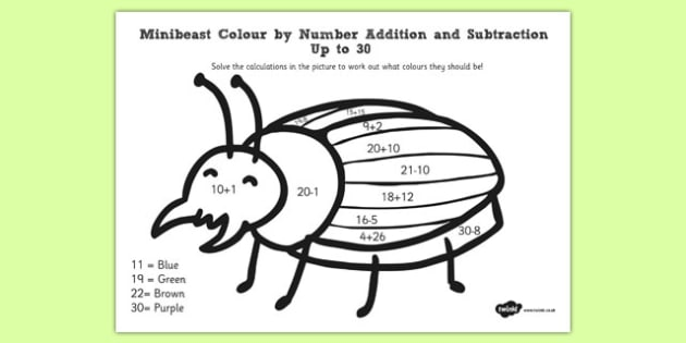 Minibeast Colour by Number Addition and Subtraction - minibeast, colour by number, addition, subtraction