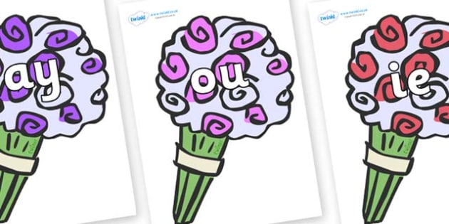 Phase 5 Phonemes on Bouquets - Phonemes, phoneme, Phase 5, Phase five, Foundation, Literacy, Letters and Sounds, DfES, display