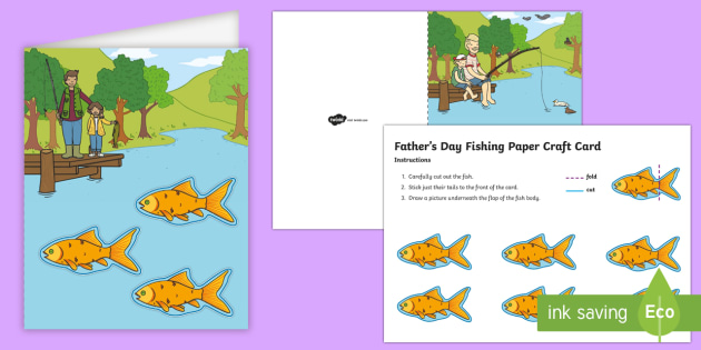 simple father s day fishing paper craft cards card father s