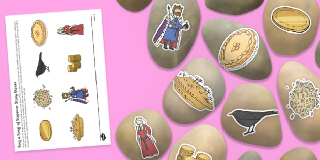 Sing a Song of Sixpence Story Stones Image Cut-Outs - Story stones, stone art, painted rocks, Nursery Rhymes, number rhymes, traditional