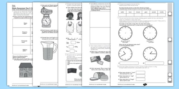 Year 2 Maths Assessment Measurement Romanian Translation - maths, assess, test, y2, ks1, key stage 1, romania, eal, romanian, numeracy