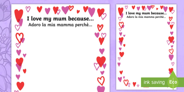 Mother\'s Day: I Love My Mum Because... Page Borders