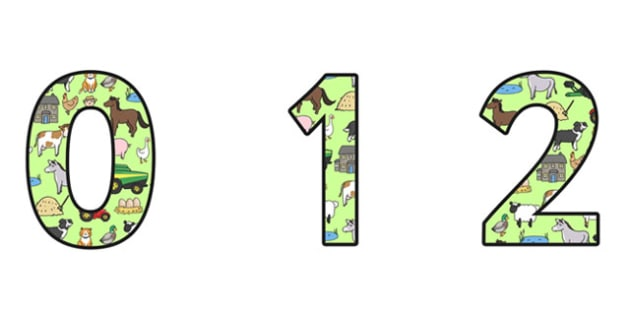 Farm Themed Display Numbers (Small) - farm numbers, farm display numbers, farm themed display numbers, on the farm, small farm display numbers, farm