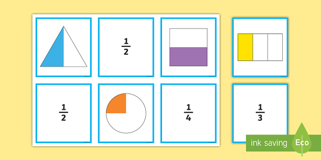 Year 3 Fractions Matching Cards - Fractions Matching Cards - fractions