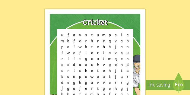 Cricket Word Search - Cricket,Australia, word search, wordseaches, wordsearch, physical education, sport, baggy green