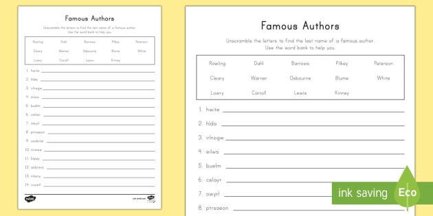 Famous Authors Word Unscramble World Book Day Word Scramble Famous