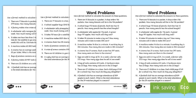Long Multiplication Word Problems Differentiated Activity