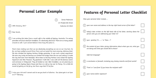 Personal Letter and Writing Checklist Australia Personal
