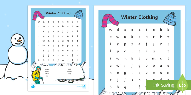 Winter Clothing Word Search