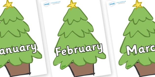 Months of the Year on Christmas Trees (Plain) - Months of the Year, Months poster, Months display, display, poster, frieze, Months, month, January, February, March, April, May, June, July, August, September