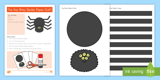 image relating to Itsy Bitsy Spider Printable known as The Itsy Bitsy Spider Paper Craft - nursery rhymes, nursery