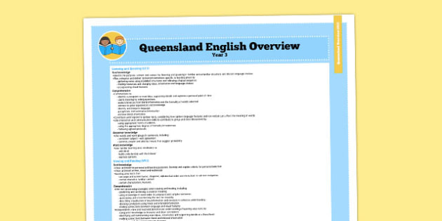 Queensland Curriculum Year 3 English Literacy Syllabus Overview - australia