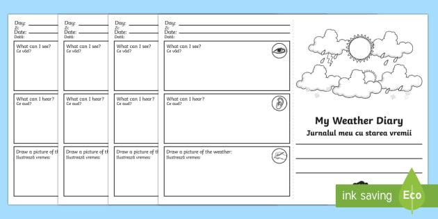 My Weather Diary Booklet Template Romanian