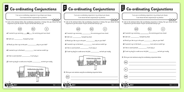 Coordinating Conjunctions Differentiated Worksheet / Activity Sheet Pack - Connectives worksheet