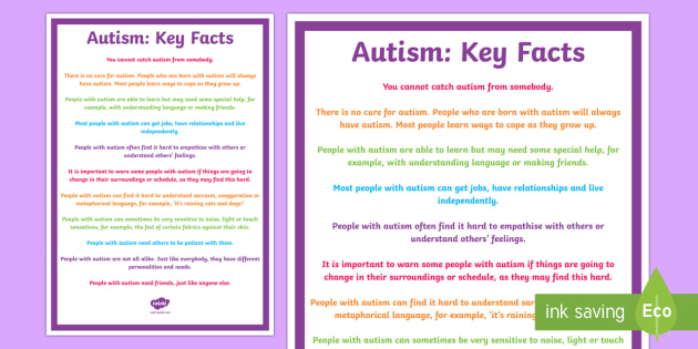 Key Facts About Autism Display Poster - KS1&KS2 World Autism Awareness Day (2nd April 2017), autism, spectrum, disability, poster, disabilit