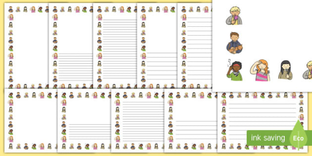 Senses Page Borders - Page border, border, writing template, writing aid, family, ourselves, KS1, five senses, all about me, my body, senses, emotions, family, body, growth