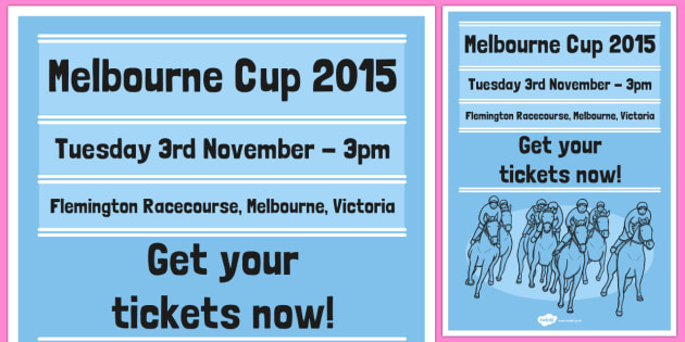 The Melbourne Cup Poster Blue - australia, melbourne cup, poster, display, blue
