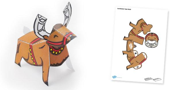 Cute Reindeer Paper Model - reindeer, paper model, craft, model