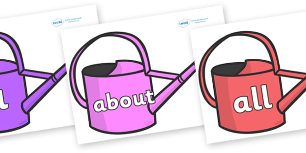 100 High Frequency Words on Watering Cans - High frequency words, hfw, DfES Letters and Sounds, Letters and Sounds, display words