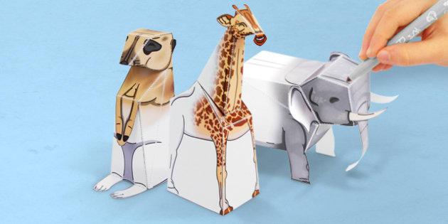 3D Safari Paper Model Activity Pack - 3d, safari, model, pack