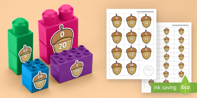Acorn Number Bonds to 20 Matching Connecting Bricks Game - EYFS, Early Years, KS1, Connecting Bricks Resources, Duplo, Lego, Plastic Bricks, Building Bricks, F