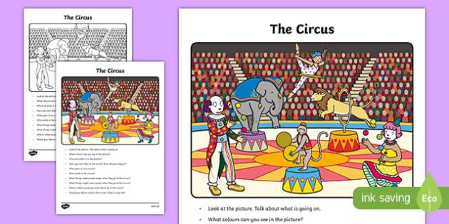 The Circus Oral Language Activity Sheet-Irish, worksheet