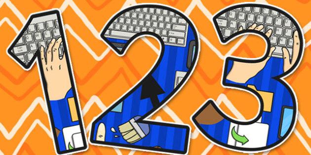 Computing Display Themed A4 Display Numbers - Computing, Number