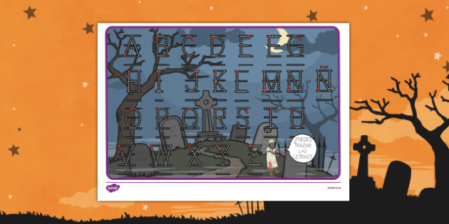 Halloween letter formation mat