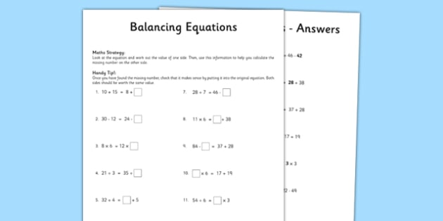 Year  Balancing Equations Worksheet  Activity Sheet