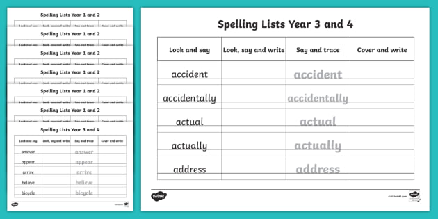 Year 3 and 4 Spelling List Word Writing Practice Sheets Resource ...
