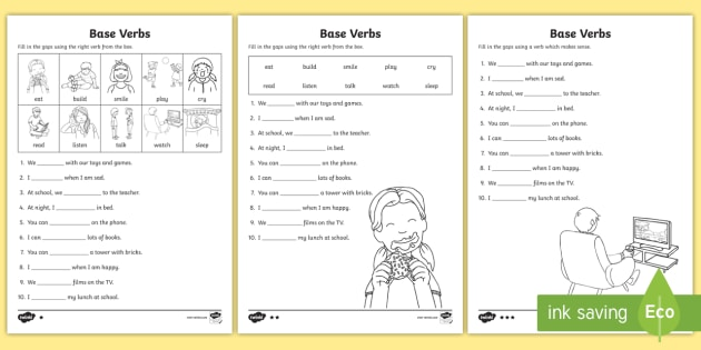 Base Verbs Gap Fill Differentiated Worksheet - Verb, Verb Form Agreement