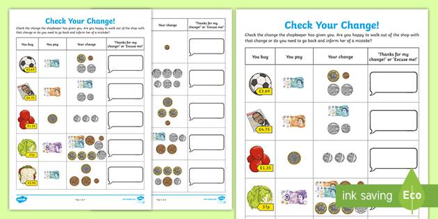 Check Your Change Money Maths Worksheet Primary Resource Ks2
