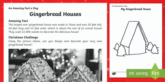 Gingerbread House Worksheet / Activity Sheet - Amazing Fact Of The Day, worksheet / activity sheets, PowerPoint, starter, morning activity, December, Christmas