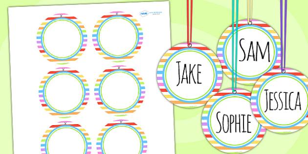 editable rainbow themed birthday party name tags