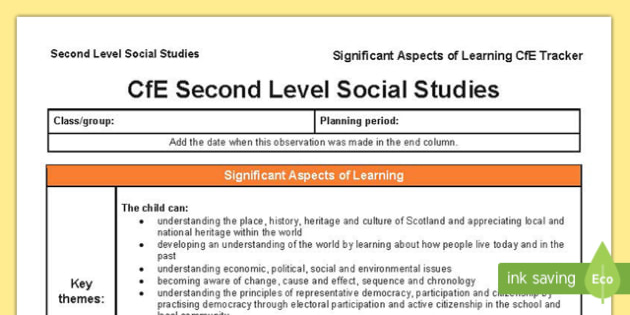 Social Studies Significant Aspects of Learning and Progression Framework CfE Second Level Tracker-Scottish