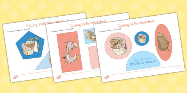 The Tale of Mrs Tiggy Winkle Cutting Skills Worksheet - mrs tiggy winkle