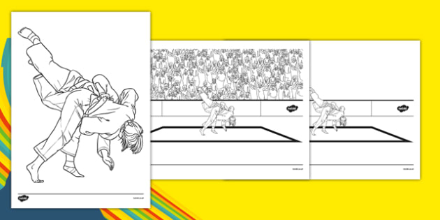 Rio 2016 Olympics Judo Colouring Sheets - Judo, Olympics, Olympic Games, sports, Olympic, London, 2012, colouring, fine motor skills, poster, worksheet, vines, A4, display, activity, Olympic torch, events, flag, countries, medal, Olympic Rings, masco
