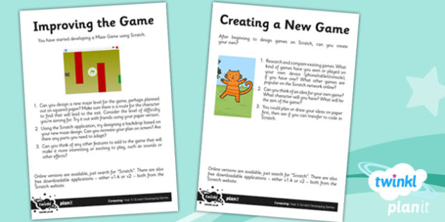 Computing: Scratch Developing Games Year 5 Unit Home Learning Tasks