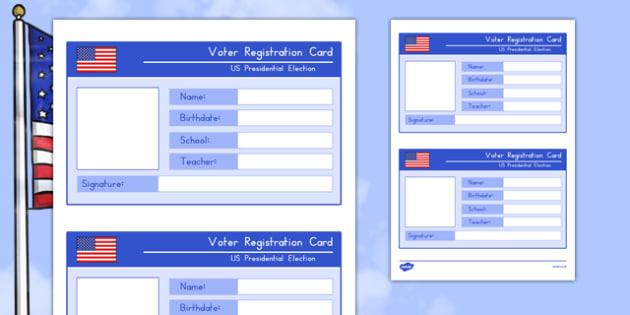 Voter Registration Card Worksheet / Activity Sheet, worksheet