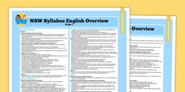 Australia NSW Syllabus English Stage 1 Overview - australia, syllabus